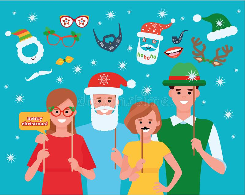 Friends celebrating Christmas together with photo booth. Cartoon character flat style illustration. Friends celebrating Christmas together with photo booth stock illustration