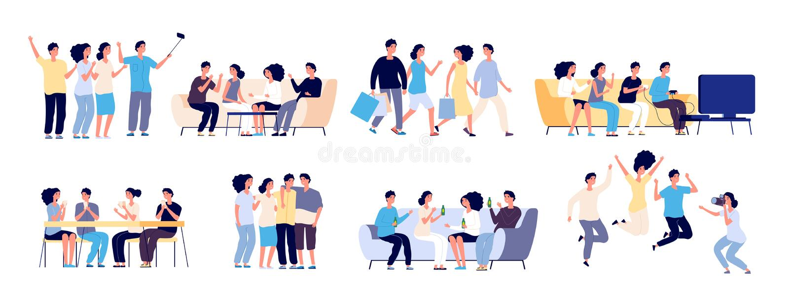 Friends characters. Friendship between people. Young best friends spending time together in conversation cartoon. Vector set isolated on white background stock illustration