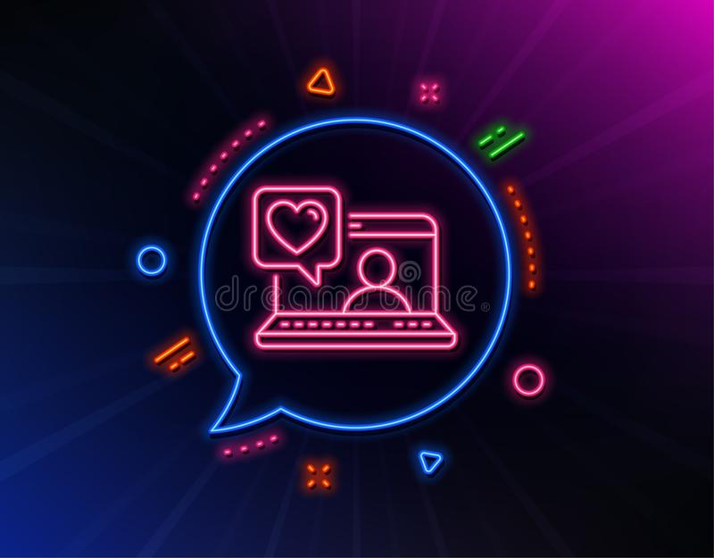 Friends chat line icon. Friendship love sign. Assistance business. Vector. Friends chat line icon. Neon laser lights. Friendship love sign. Assistance business stock illustration
