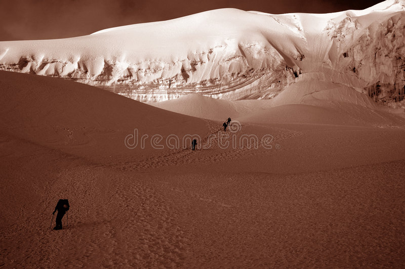 Download Friends On Chipicalqui Glacier Near Camp 2 Stock Image - Image: 208085