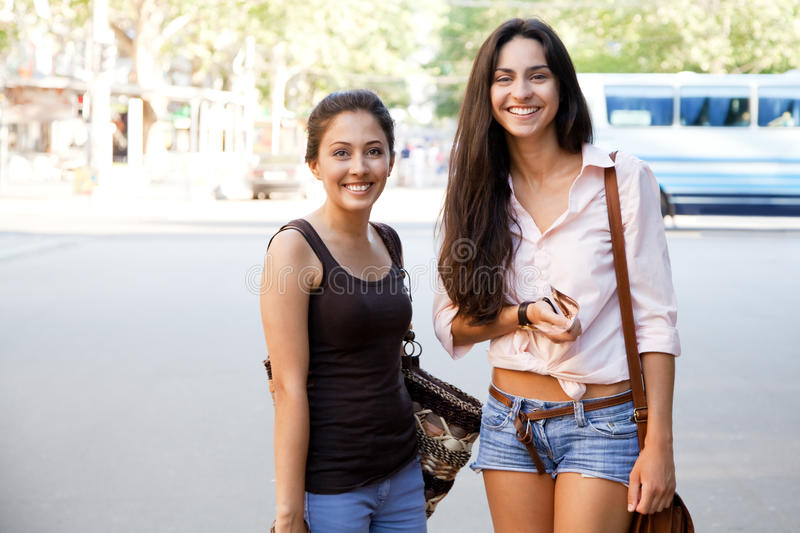 Friends in the city royalty free stock photos