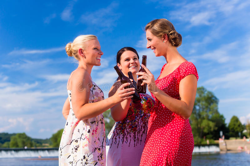 Friends clinking and saying Cheers at river beach stock image