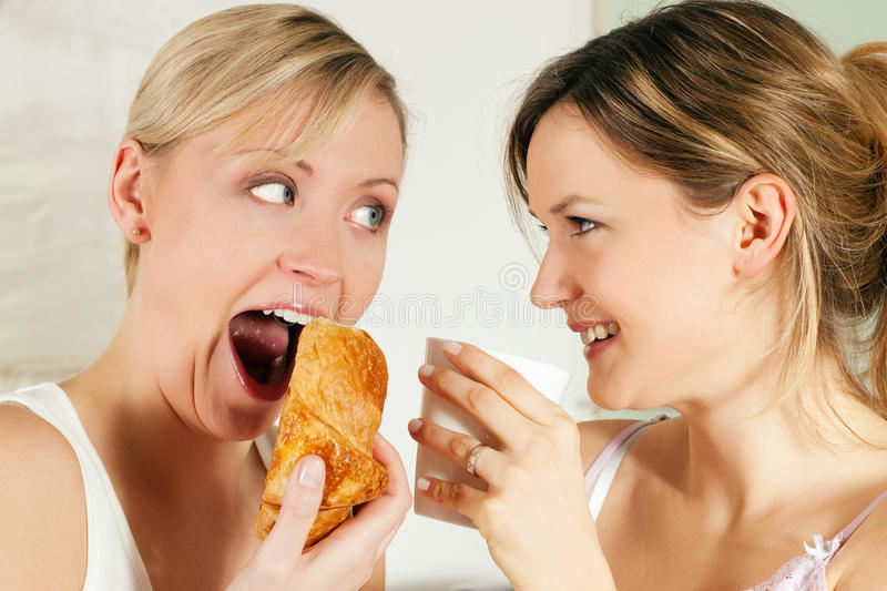 Download Friends With Coffee And Croissant Stock Image - Image: 12335935