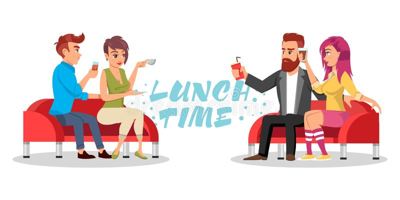 Friends or colleagues sitting at table with drinks and pizza. Vector azure lettering Lunch time. stock illustration