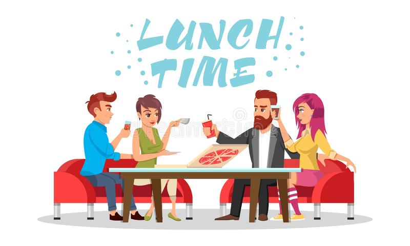 Friends or colleagues sitting at table with drinks and pizza. Vector azure lettering Lunch time. Friends or colleagues sitting at table with drinks and pizza royalty free illustration