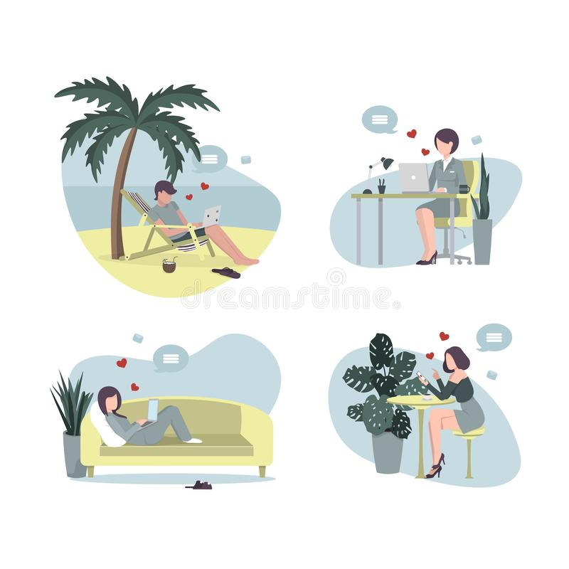 Communication from everywhere four people stock illustration