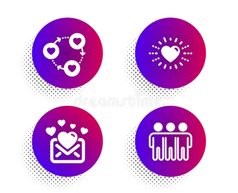 Friends community, Love mail and Heart icons set. Friendship sign. Love, Valentines letter, Trust friends. Vector royalty free illustration
