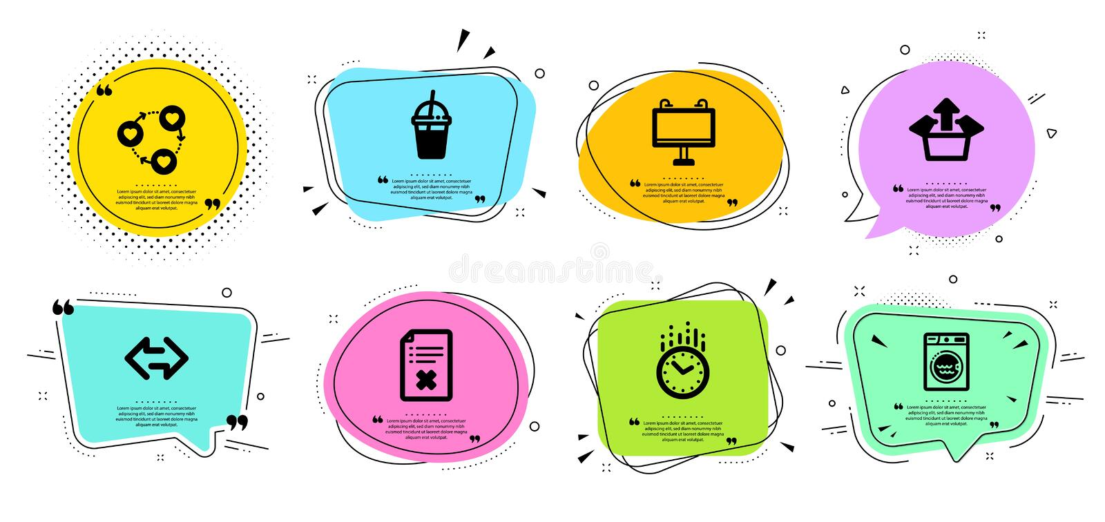 Friends community, Time and Coffee cocktail icons set. Laundry, Sync and Road banner signs. Vector. Friends community, Time and Coffee cocktail line icons set royalty free illustration