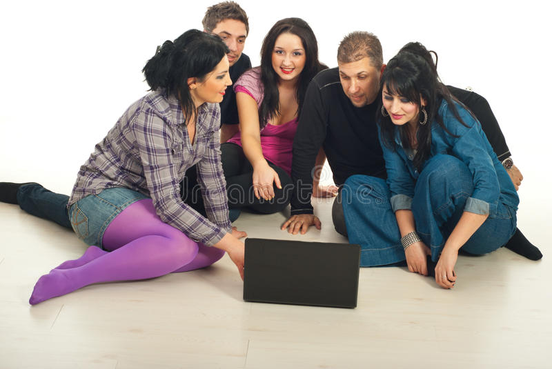 Friends Conversation With Laptop Stock Images