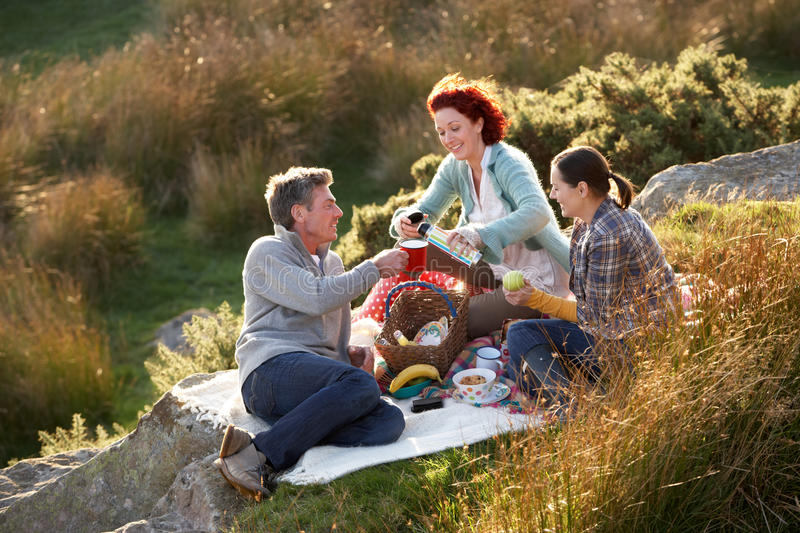 Friends on country picnic royalty free stock photos