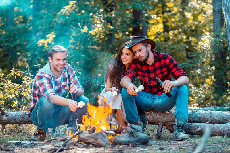 Friends couples enjoy vacation or weekend forest. Best friends spend leisure weekend hike barbecue forest nature stock photo