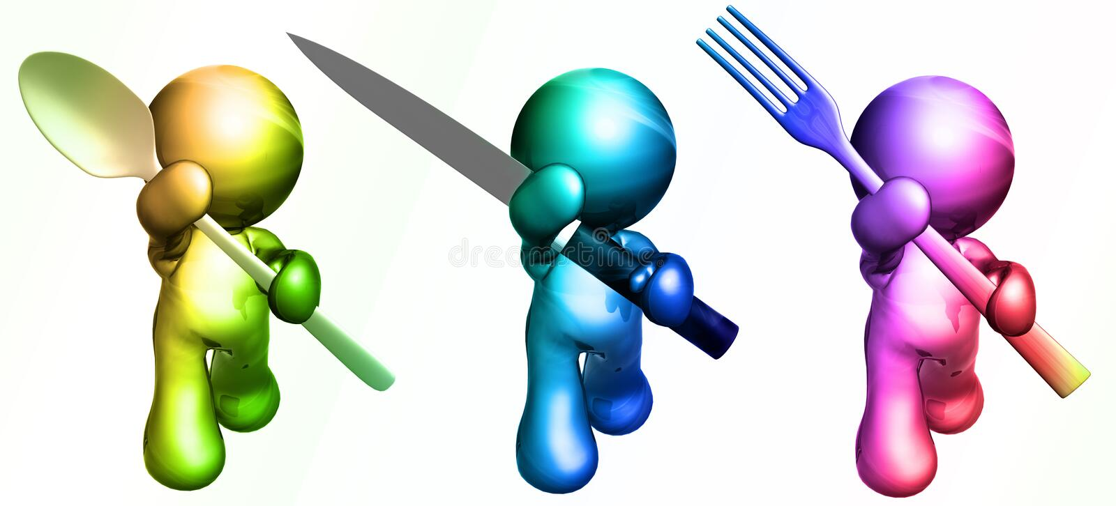 friends with dining utensils royalty free illustration