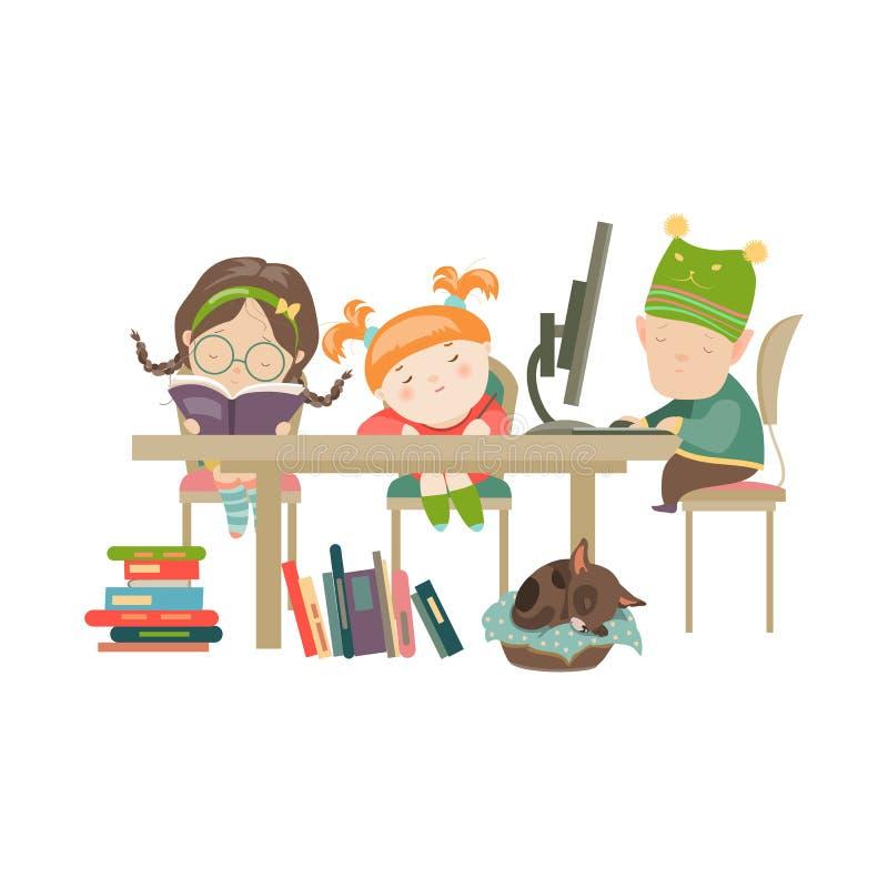 Friends doing homework vector illustration