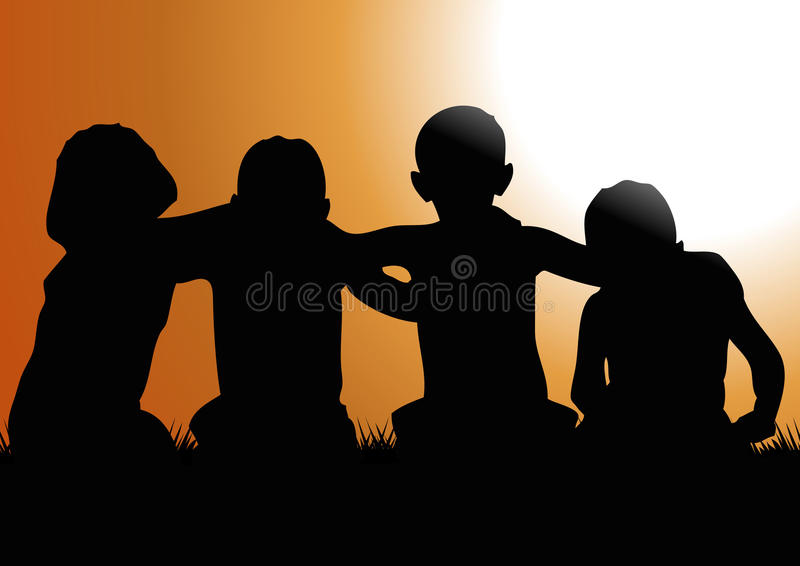 Friends. Drawing of children friends hugging each at sunset royalty free illustration