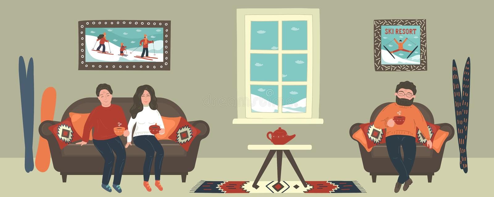 Friends drinking hot tea in cozy room, appartment or cafe in winter. royalty free illustration