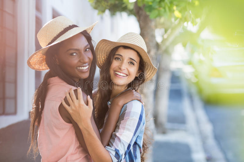 Friends embracing each other royalty free stock image