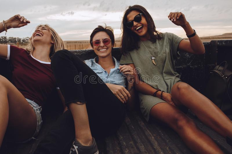 Friends enjoying a country road ride royalty free stock photography