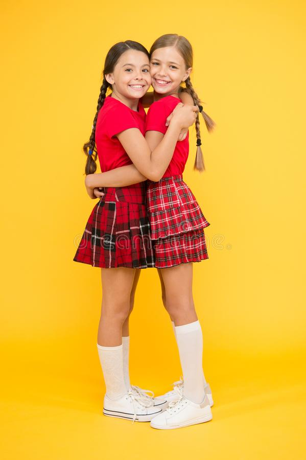 Friends enjoying friendship. True friends. Cheerful friends. Happy together. School girls having fun together. Cute stock photos