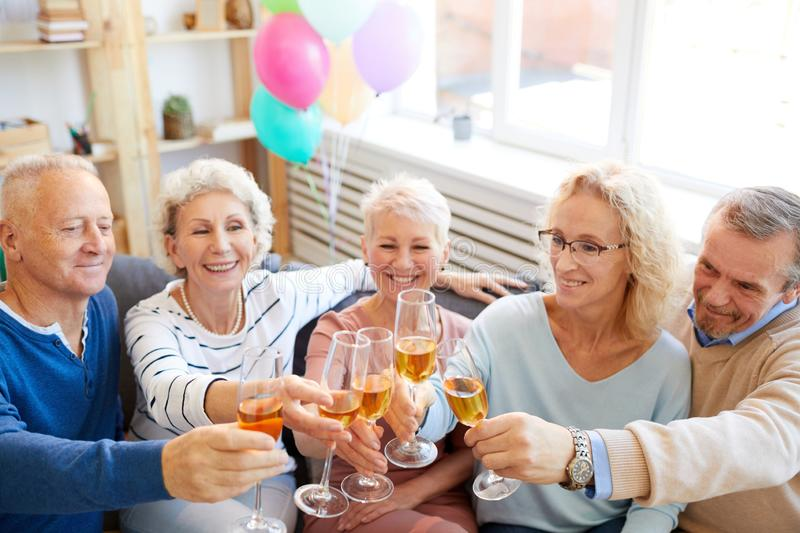 Friends excited about birthday party stock image