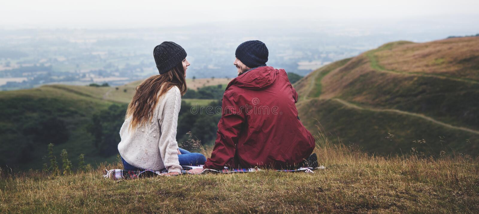 Friends exploring and enjoying nature shoot royalty free stock photography