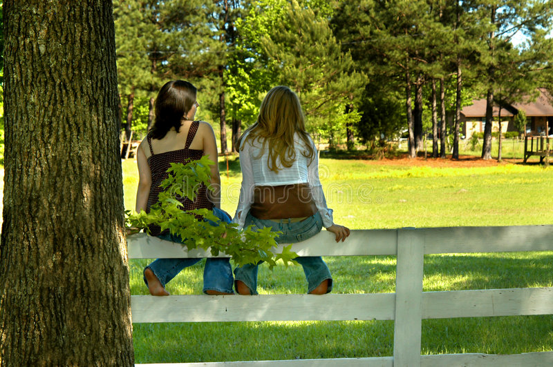 Friends on a Fence. Two young teens sit on top of a fence rail on a sunny afternoon. Looking out at the pastue royalty free stock photos