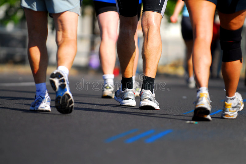 Friends on fitness path royalty free stock photos