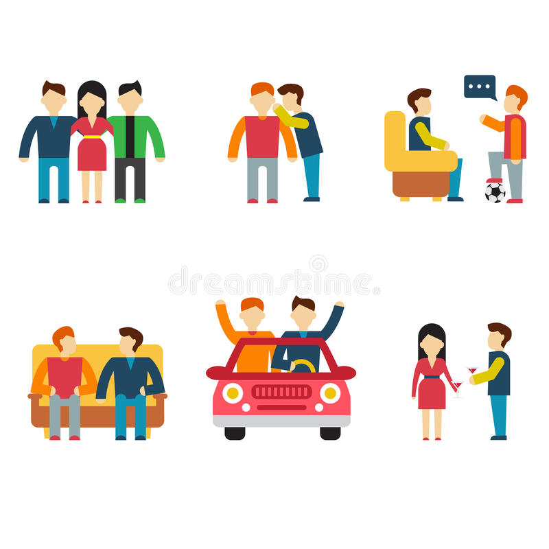 Friends and friendly relationship flat line icons vector illustration