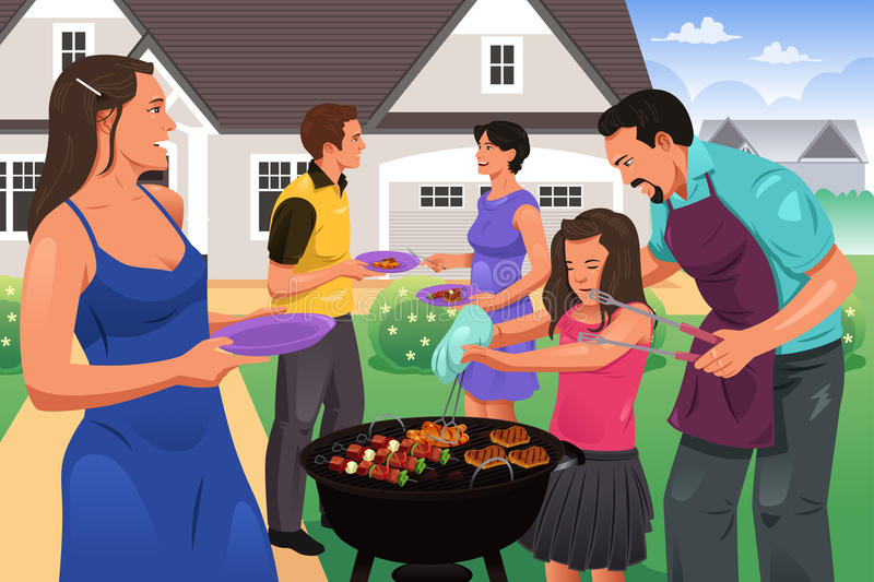 Friends Gather for BBQ Party. A vector illustration of people having a bbq party in the garden royalty free illustration