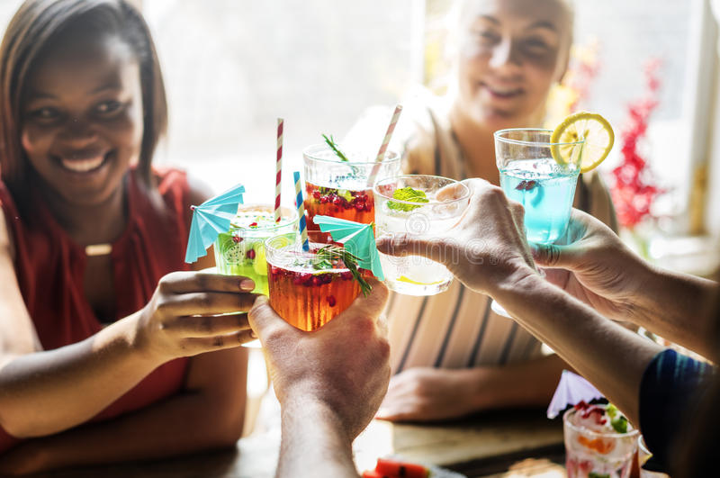 Friends gathering drinks healthy party stock photos