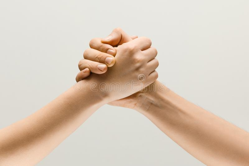 Two male hands competion in arm wrestling isolated on grey studio background. Friends greetings sign or disagreement. Two male hands competion in arm wrestling stock photo