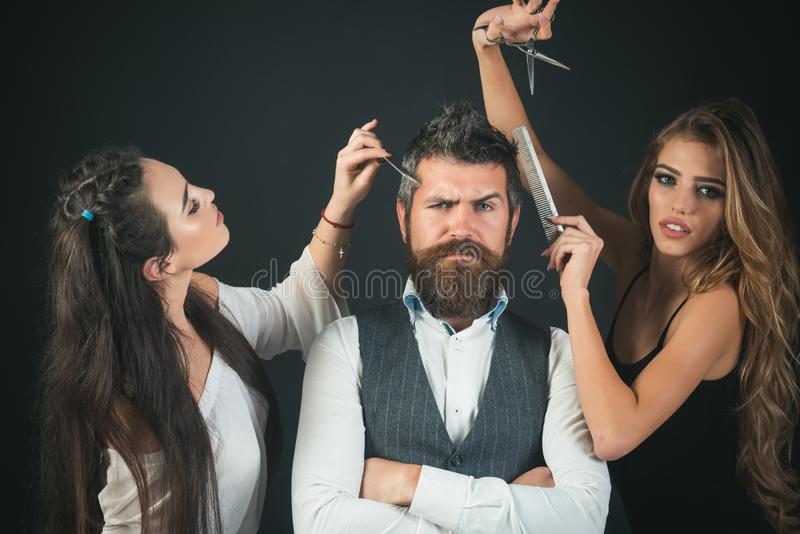 Friends at hairdresser salon, lgbt. royalty free stock photography