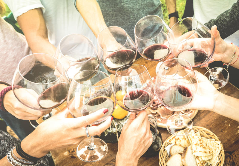 Friends hands toasting red wine glass and having fun outdoors. Cheering with winetasting - Young people enjoying harvest time together at farmhouse vineyard stock photo