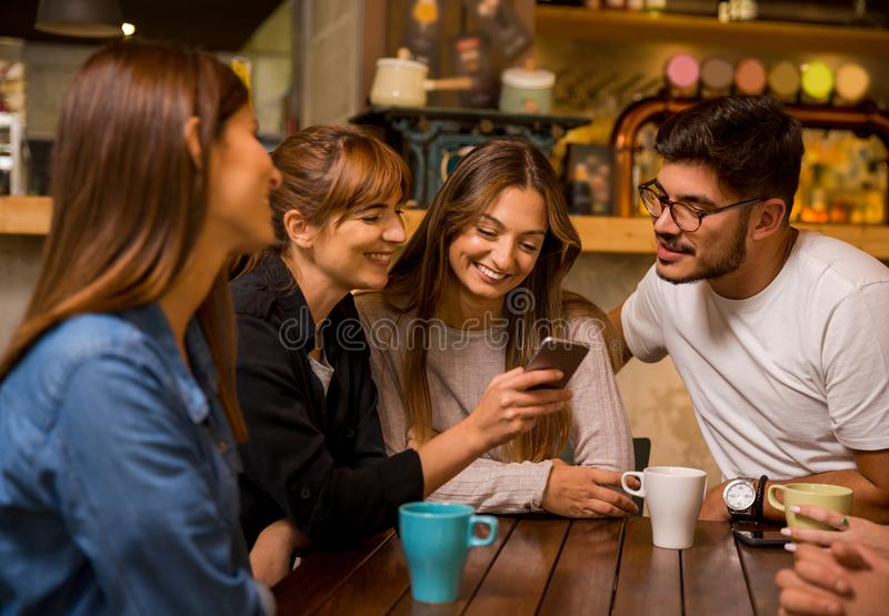 Factime with friends. Friends hangout at the cafe and watching something on the phone royalty free stock photo