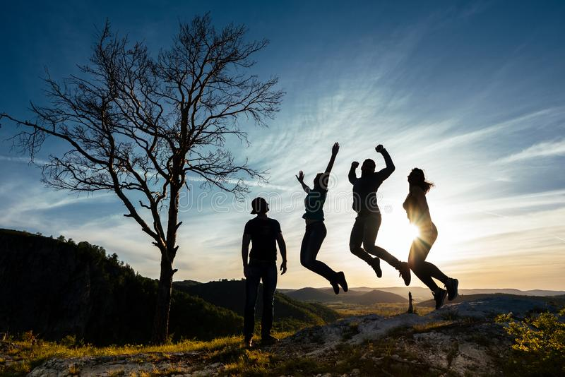 Friends have fun at sunset. Funny friends. A group of people in nature. Silhouettes of friends. Best friend. Friends traveling. stock photo