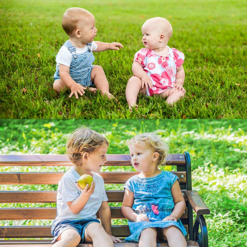Friends have grown. Children are friends from 1 year old. Now they are 4 years old. Two happy baby boy sitting and interact, talk,. Look at each other stock photos
