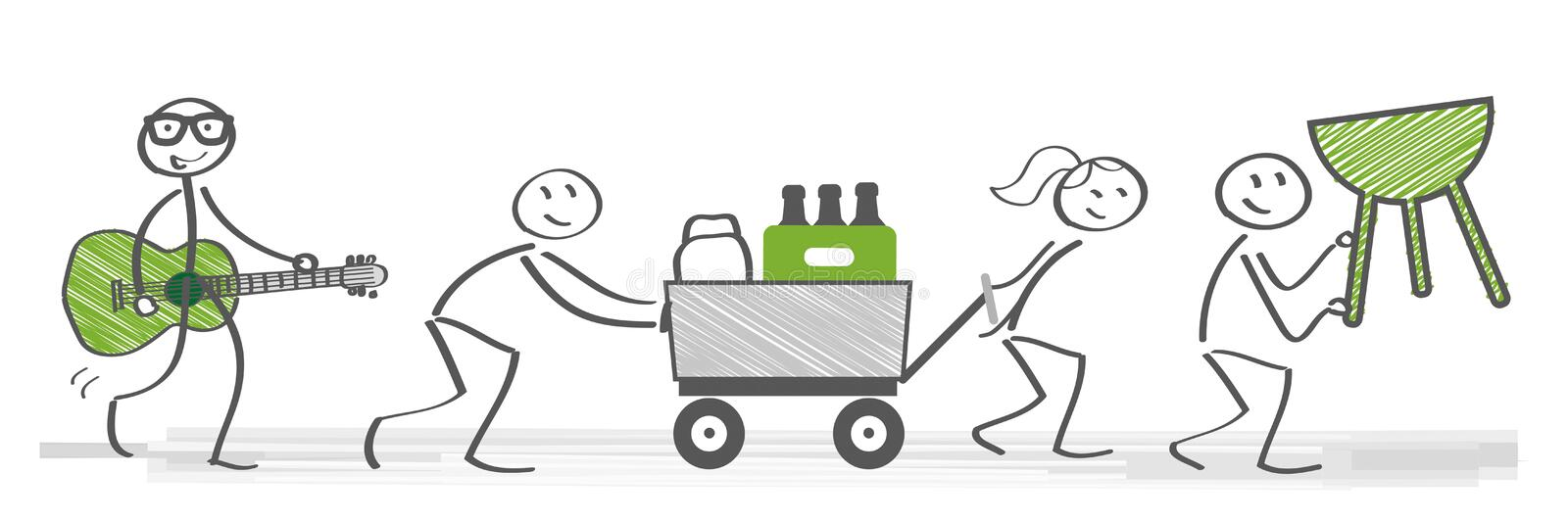 Friends having a barbecue party. Friends prepare for barbecue party. Vector illustration with stick figures vector illustration
