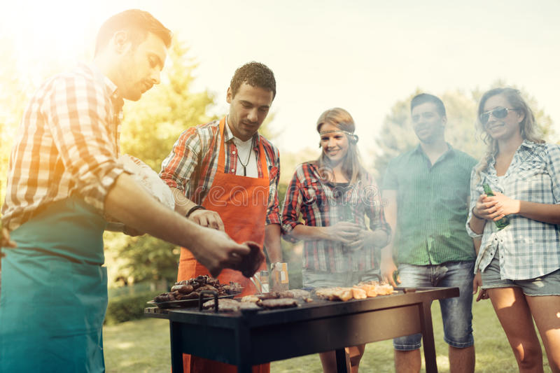 Friends having a barbecue party in nature royalty free stock image