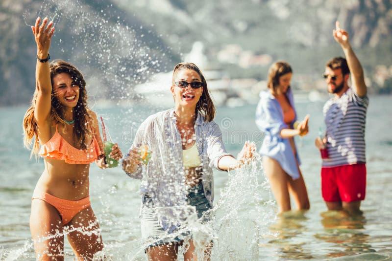 Friends having fun on beach royalty free stock image