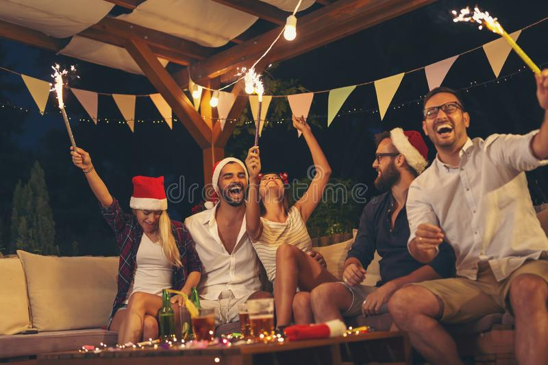 Friends at New Year`s Eve party royalty free stock photos