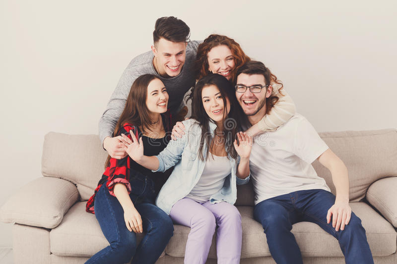 Friends having fun, taking selfie at home party stock photos