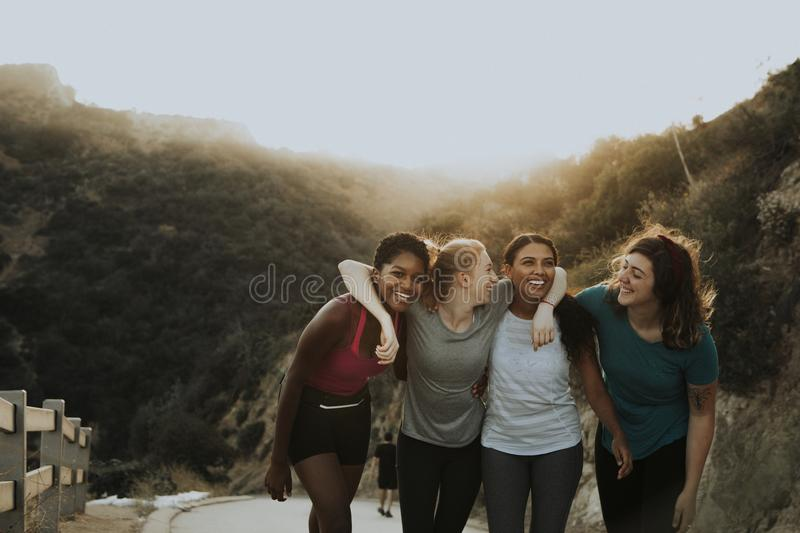 Friends hiking through the hills of Los Angeles stock photos