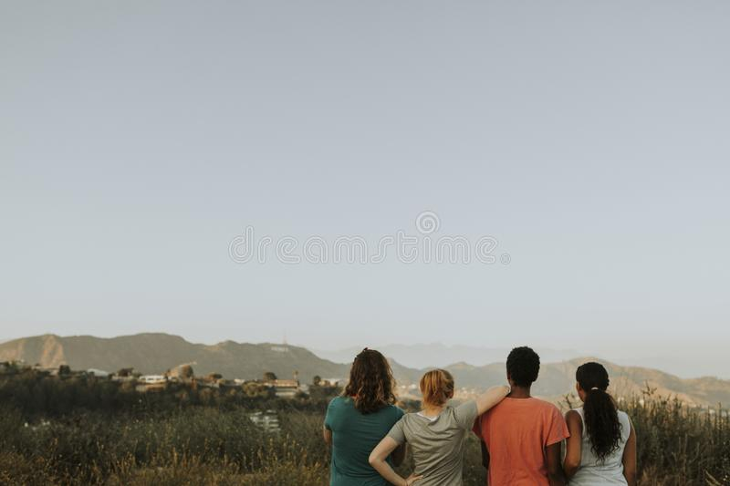 Friends hiking through the hills of Los Angeles royalty free stock photo