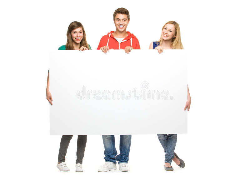 Download Friends Holding Blank Poster Stock Photo - Image: 21281100
