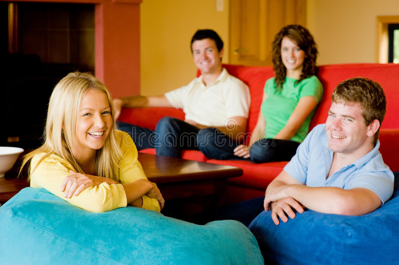 Download Friends At Home stock photo. Image of home, adults, blue - 6435958