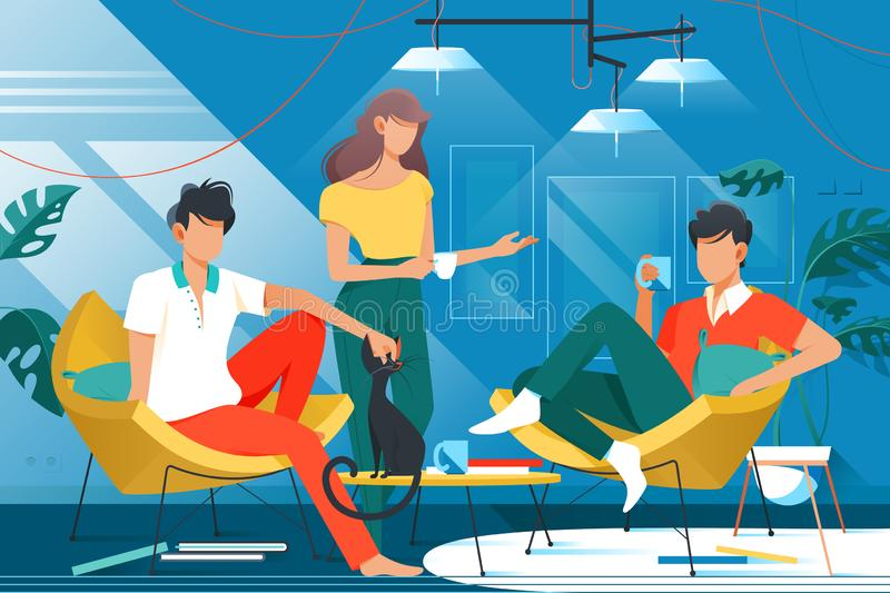 Friends at home. Illustration. Smart people sitting in living room with comfy chairs. Man in red shirt holding ceramic cup with hot beverage flat style concept stock illustration