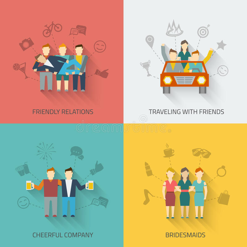 Friends Icons Flat Set stock illustration