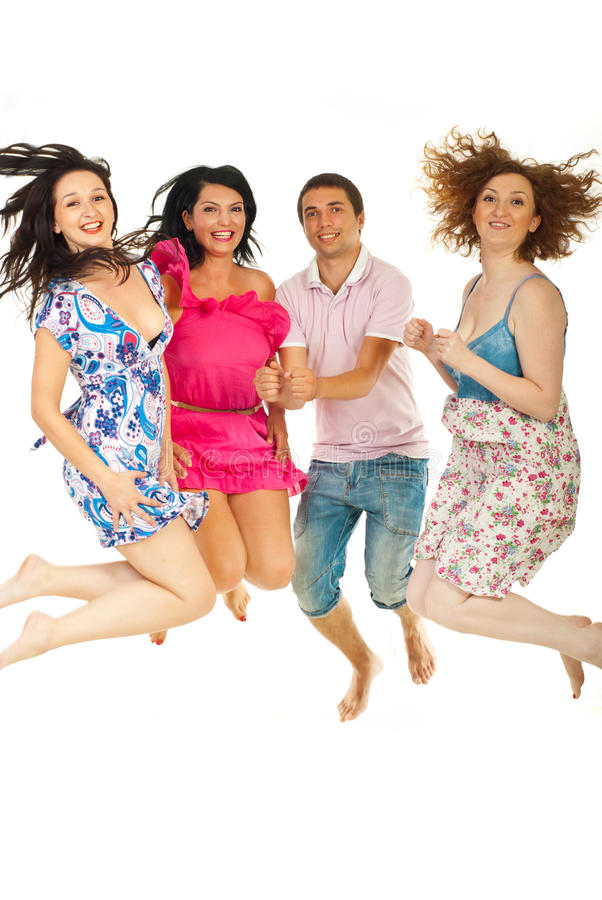 Friends Jumping Together Stock Images