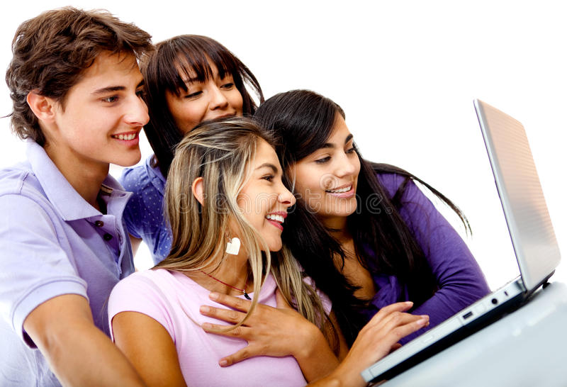 Download Friends on a laptop stock photo. Image of browse, hispanic - 22142920
