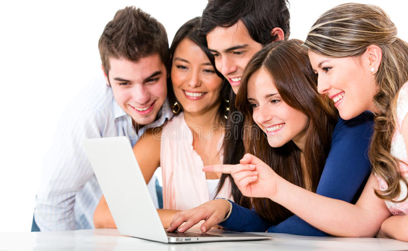 Download Friends with a laptop stock photo. Image of network, academic - 25367196
