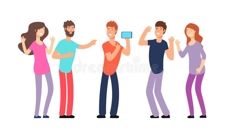 Friends laughing. People laughing together. Friendly fun conversation and joke vector concept royalty free illustration